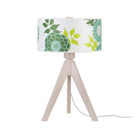 Lights UP Woody 1 Light Table Lamp in Wood Pickled with Pickeled Anna Green Shade 333WP-ANG
