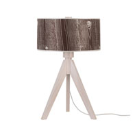 Lights UP Woody 1 Light Table Lamp in Wood Pickled with Pickeled Faux Bois Dark Shade 333WP-FBD