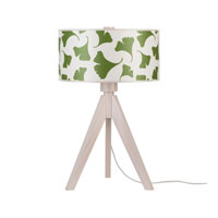 Lights UP Woody 1 Light Table Lamp in Wood Pickled with Pickeled Green Ginko Leaf Shade 333WP-GGL