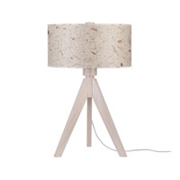 Lights UP Woody 1 Light Table Lamp in Wood Pickled with Pickeled Mango Leaf Shade 333WP-MLF