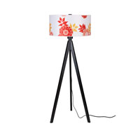 Lights UP Woody 1 Light Floor Lamp in Wood Black with Anna Red Shade WD-933WB-ANR