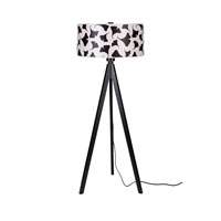 Lights UP Woody 1 Light Floor Lamp in Wood Black with Black Ginko Leaf Shade WD-933WB-BGL
