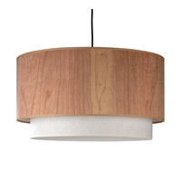 Lights UP Woody 2 Light Pendant in Brushed Nickel with Cherry Wood and Ivory Ipanema Shade 9444BN-CWD