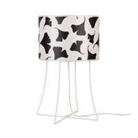 Lights UP Virgil 1 Light Table Lamp in Powdercoat White with Black Ginko Leaf Shade WL-401PW-BGL