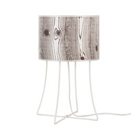 Lights UP Virgil 1 Light Table Lamp in Powdercoat White with Faux Bois Light Shade WL-401PW-FBL