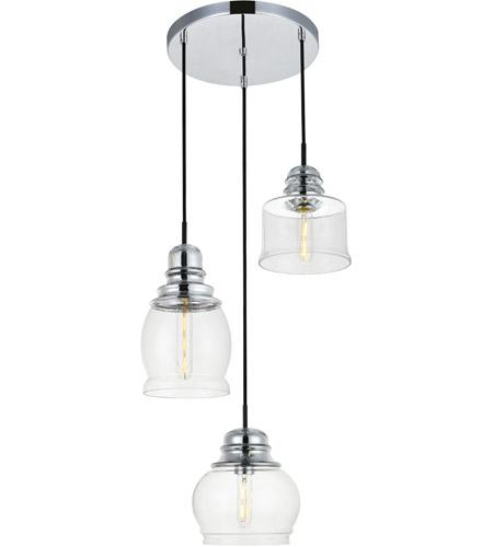 Living District Ld2239c Kenna 3 Light 17 Inch Chrome Pendant Ceiling