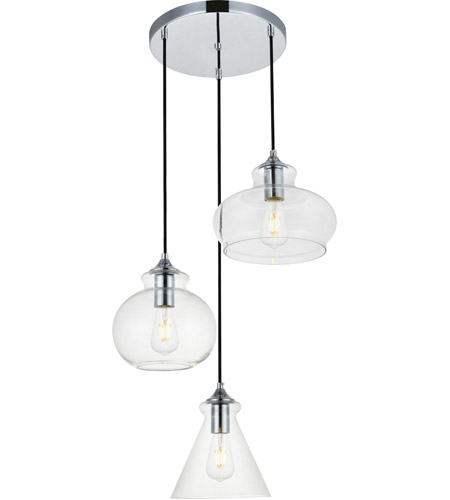 Living District LD2247C Destry 3 Light 19 Inch Chrome Pendant Ceiling Light  Photo