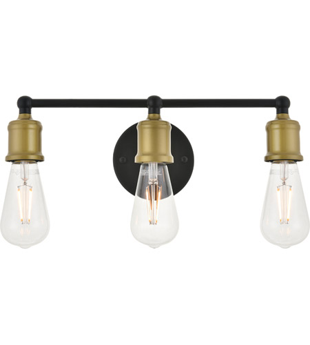 Living District LD4028W16BRB Serif 3 Light 15 inch Brass and Black Wall Sconce Wall Light photo thumbnail
