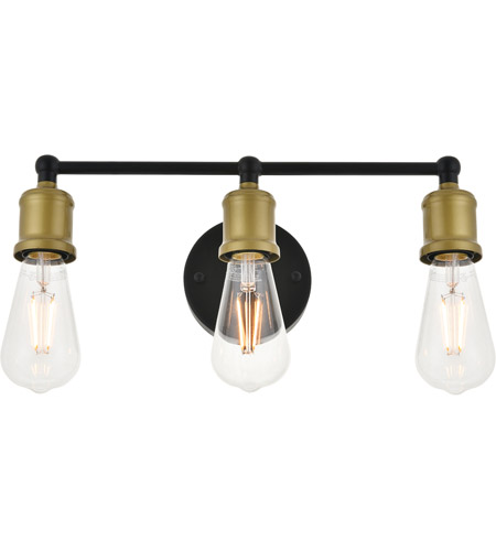 Living District LD4028W16BRB Serif 3 Light 15 inch Brass and Black Wall Sconce Wall Light alternative photo thumbnail