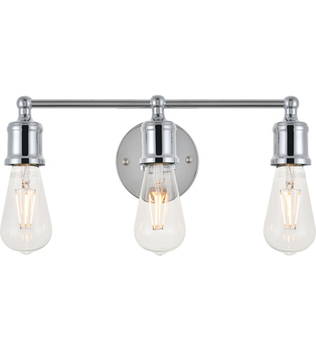 Living District LD4028W16C Serif 3 Light 15 inch Chrome Wall Sconce Wall Light photo thumbnail