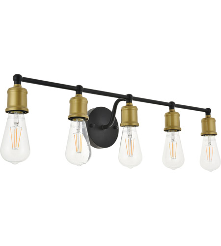 Living District LD4028W29BRB Serif 5 Light 29 inch Brass and Black Wall Sconce Wall Light alternative photo thumbnail