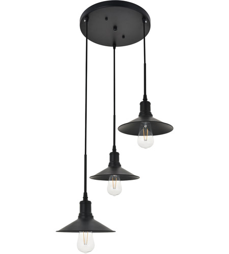 Living District LD4033D20BK Etude 3 Light 19 inch Black Pendant Ceiling Light alternative photo thumbnail