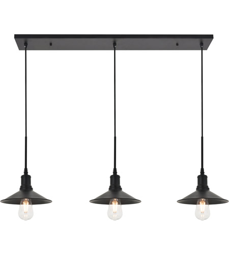 Living District LD4033D42BK Etude 3 Light 9 inch Black Pendant Ceiling Light photo thumbnail