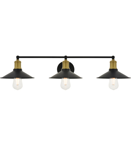 Living District LD4033W33BRB Etude 3 Light 33 inch Brass and Black Wall Sconce Wall Light photo thumbnail