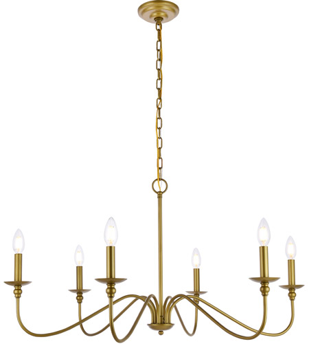 Living District LD5006D36BR Rohan 6 Light 36 inch Brass Chandelier Ceiling Light photo thumbnail