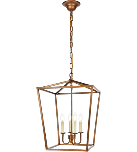 Living District Ld6008d17g Maddox 4 Light 17 Inch Vintage Gold Pendant Ceiling Light