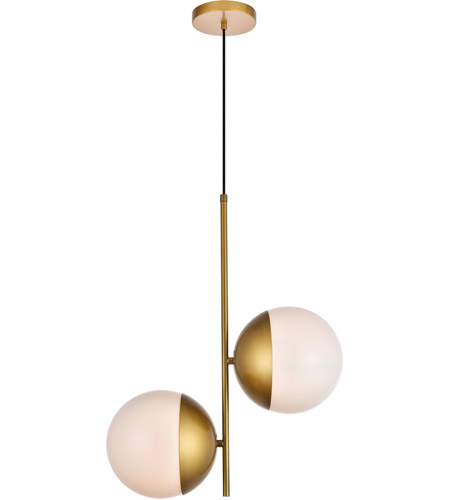 Living District LD6120BR Eclipse 2 Light 8 inch Brass Pendant Ceiling Light photo thumbnail
