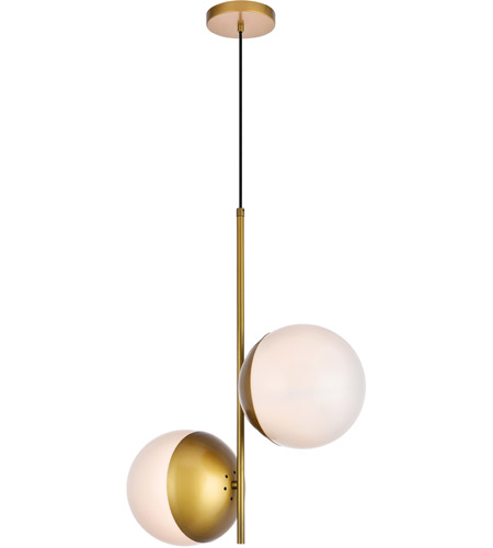 Living District LD6120BR Eclipse 2 Light 8 inch Brass Pendant Ceiling Light alternative photo thumbnail