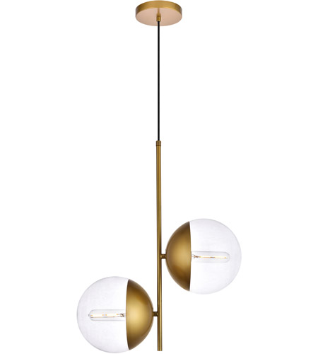 Living District LD6121BR Eclipse 2 Light 8 inch Brass Pendant Ceiling Light photo thumbnail