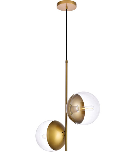Living District LD6121BR Eclipse 2 Light 8 inch Brass Pendant Ceiling Light alternative photo thumbnail