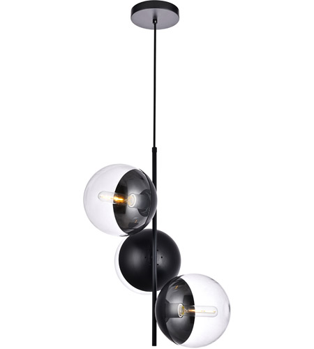 Living District LD6123BK Eclipse 3 Light 18 inch Black Pendant Ceiling Light alternative photo thumbnail