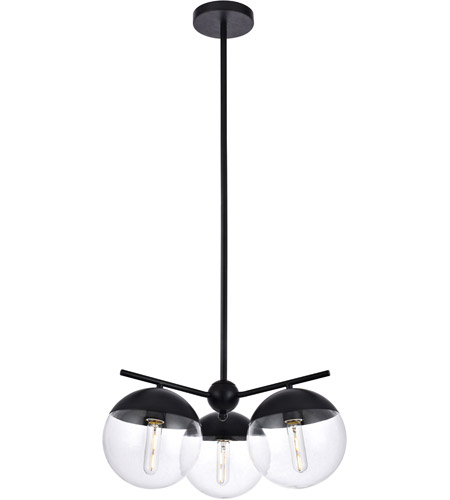 Living District LD6129BK Eclipse 3 Light 21 inch Black Pendant Ceiling Light photo thumbnail