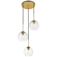 Living District LD2208BR Baxter 3 Light 18 inch Brass Pendant Ceiling Light