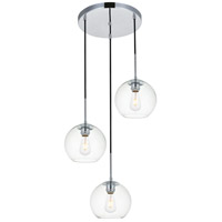 Living District LD2208C Baxter 3 Light 18 inch Chrome Pendant Ceiling Light