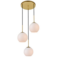 Living District LD2209BR Baxter 3 Light 18 inch Brass Pendant Ceiling Light