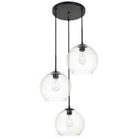 Living District LD2214BK Baxter 3 Light 20 inch Black Pendant