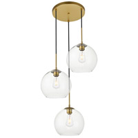 Living District LD2214BR Baxter 3 Light 20 inch Brass Pendant