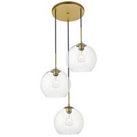 Living District LD2214BR Baxter 3 Light 20 inch Brass Pendant Ceiling Light
