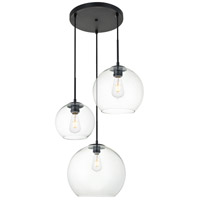 Living District LD2218BK Baxter 3 Light 21 inch Black Pendant Ceiling Light