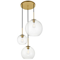 Living District LD2218BR Baxter 3 Light 21 inch Brass Pendant Ceiling Light