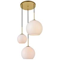 Living District LD2219BR Baxter 3 Light 21 inch Brass Pendant Ceiling Light