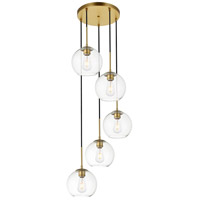 Living District LD2226BR Baxter 5 Light 18 inch Brass Pendant Ceiling Light
