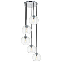 Living District LD2226C Baxter 5 Light 18 inch Chrome Pendant Ceiling Light