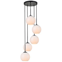 Living District LD2227BK Baxter 5 Light 18 inch Black Pendant Ceiling Light