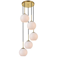 Living District LD2227BR Baxter 5 Light 18 inch Brass Pendant Ceiling Light