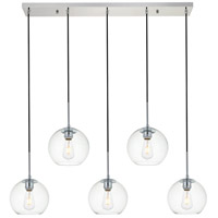 Living District LD2228C Baxter 5 Light 8 inch Chrome Pendant Ceiling Light