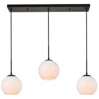 Living District LD2237BK Baxter 3 Light 8 inch Black Pendant Ceiling Light