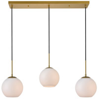 Living District LD2237BR Baxter 3 Light 8 inch Brass Pendant Ceiling Light