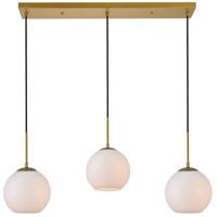 Living District LD2237BR Baxter 3 Light 8 inch Brass Pendant Ceiling Light