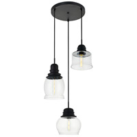 Living District LD2239BK Kenna 3 Light 17 inch Black Pendant Ceiling Light