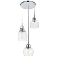 Living District LD2239C Kenna 3 Light 17 inch Chrome Pendant Ceiling Light