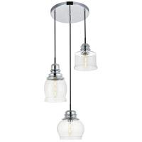 Living District LD2239C Kenna 3 Light 17 inch Chrome Pendant Ceiling Light