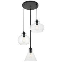 Living District LD2247BK Destry 3 Light 19 inch Black Pendant Ceiling Light