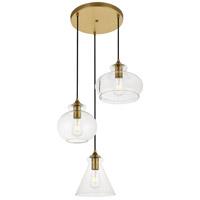 Living District LD2247BR Destry 3 Light 19 inch Brass Pendant Ceiling Light