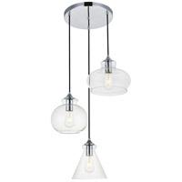 Living District LD2247C Destry 3 Light 19 inch Chrome Pendant Ceiling Light