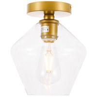 Living District LD2254BR Gene 1 Light 8 inch Brass Flush Mount Ceiling Light
